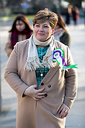 © Licensed to London News Pictures. 06/02/2018. London, UK. Shadow Foreign Secretary Emily Thornberry walking through Westminster. She is wearing a rosette to celebrate the 100 year anniversary of women gaining the right to vote. Photo credit : Tom Nicholson/LNP