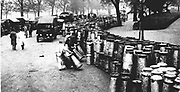 General strike in Britain, 1926.  Emergency milk depot set up in Hyde Park, London.