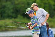 A family fishes in Trout Lake in the Northwoods village of Boulder Junction, Wisconsin.