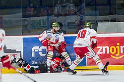 13.01.2019, Ice Rink, Znojmo, CZE, EBEL, HC Orli Znojmo vs HCB Suedtirol Alperia, 38. Runde, im Bild v.l. Daniel Catenacci (HCB Sudtirol Alperia) Radim Matus (HC Orli Znojmo) Markus Nordlund (HCB Sudtirol Alperia) // during the Erste Bank Eishockey League 38th round match between HC Orli Znojmo and HCB Suedtirol Alperia at the Ice Rink in Znojmo, Czechia on 2019/01/13. EXPA Pictures © 2019, PhotoCredit: EXPA/ Rostislav Pfeffer