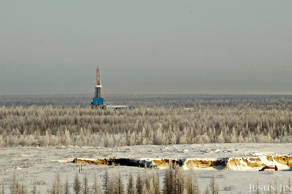 """Achimgaz gas """"second"""" drilling well in Novy Urengoi, Siberia, Russia."""
