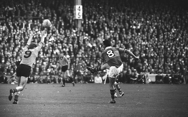 Down's Mc Alanney tries to catch the ball but it went over his head during the All Ireland Senior Gaelic Football Final Kerry v Down in Croke Park on the 22nd September 1968. Down 2-12 Kerry 1-13.