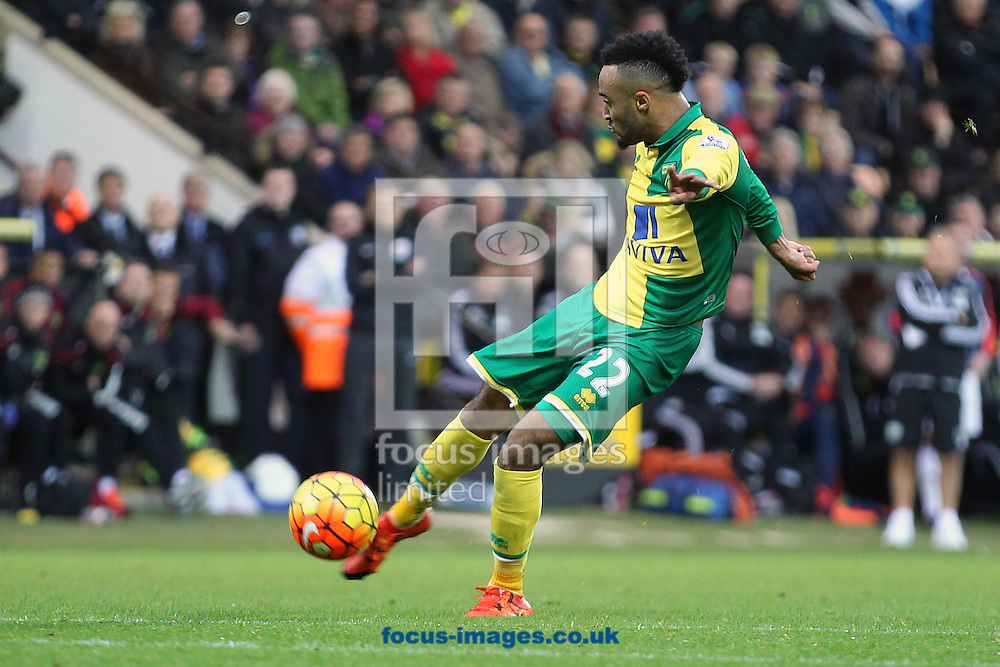 Nathan Redmond of Norwich has a shot on goal during the Barclays Premier League match at Carrow Road, Norwich<br /> Picture by Paul Chesterton/Focus Images Ltd +44 7904 640267<br /> 24/10/2015