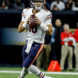 Oct 29, 2017; New Orleans, LA, USA; Chicago Bears quarterback Mitchell Trubisky (10) against the New Orleans Saints during the second half of a game at the Mercedes-Benz Superdome. The Saints defeated the Bears 20-12. Mandatory Credit: Derick E. Hingle-USA TODAY Sports
