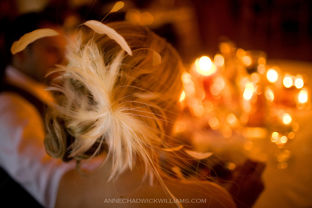 Detail of bride's hairpiece.