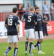 James McPake congratulates Kane Hemmings after the striker had headed home Dundee's second goal - Dundee v St Johnstone at Dens Park <br /> - Ladbrokes Premiership<br /> <br />  - &copy; David Young - www.davidyoungphoto.co.uk - email: davidyoungphoto@gmail.com