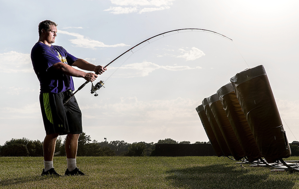 Bellevue,  --<br /> <br /> Bellevue West offensive guard Tyler Ciurej poses for a portrait near his high school on Tuesday, Aug. 9, 2016, in Bellevue. Ciurej likes to fish when he's not on the field.<br /> <br /> MATT DIXON/THE WORLD-HERALD