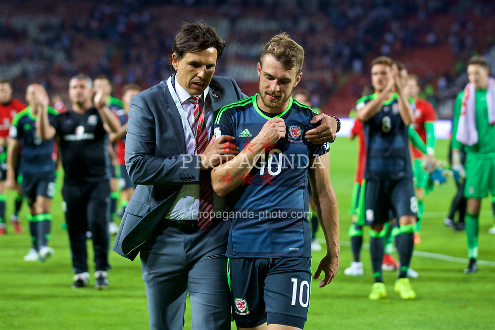 BELGRADE, SERBIA - Sunday, June 11, 2017: Wales' manager Chris Coleman with goal-scorer Aaron Ramsey after the 1-1 draw with Serbia during the 2018 FIFA World Cup Qualifying Group D match between Wales and Serbia at the Red Star Stadium. (Pic by David Rawcliffe/Propaganda)