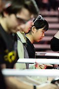 March 13, 2015 - New York, NY. High school students test drive their robots on opening day of the FIRST Robotics New York City Regional Competition at the Jacob Javits Center. Winners will go on to the national championships in April. 03/13/2015 Photograph by Allegra Abramo