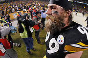 Brett Keisel (99) of the Pittsburgh Steelers leaves the field following the game against the Baltimore Ravens in the AFC Divisional Playoff game on Jan. 15, 2011 at Heinz Field in Pittsburgh, Pennsylvania. The Steelers won 31-24. (Photo by Joe Robbins)