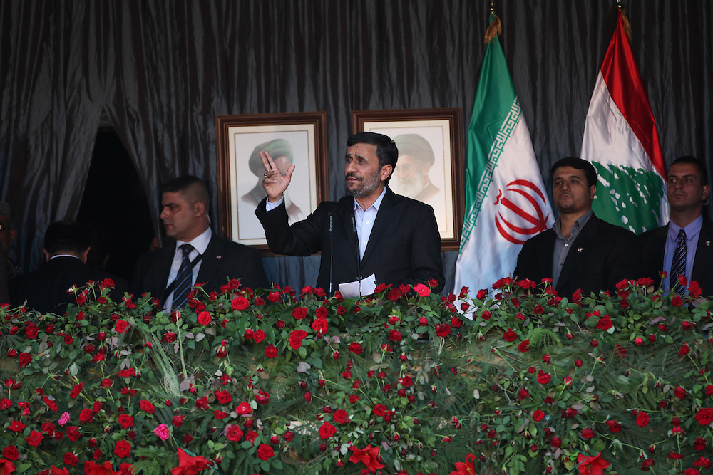 On the second and final day of his visit to Lebanon, Iranian President Mahmoud Ahmadinejad traveled to the southern town of Bint Jbeil. There a Hizballah-organized rally was held to welcome Ahmadinejad to the south Lebanon, an area where Hizballah is widely supported. Tens of thousands gathered for hours holding flags of Iran, Hizballah, Lebanon and other political parties, cheering the Iranian president as he arrived by helicopter from Beirut. ///Iranian President Mahmoud Ahmadinejad addresses tens of thousands of Lebanese at a rally welcoming him to south Lebanon.