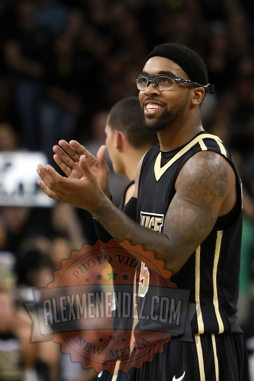 Central Florida guard Marcus Jordan (5) claps during the NCAA basketball game against the USF Bulls at the UCF Arena on November 18, 2010 in Orlando, Florida. UCF won the game 65-59. (AP Photo/Alex Menendez)