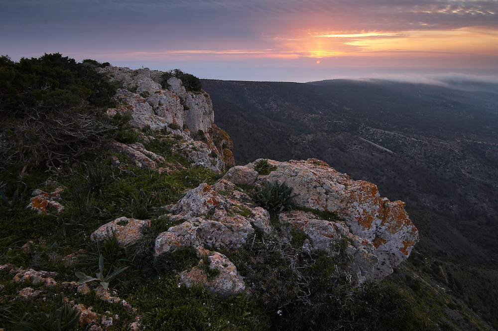 Sunset and view from the mountain Moutti tis Sotiras, Akamas Peninsula, Cyprus