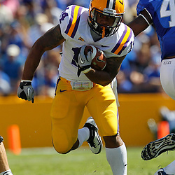 October 1, 2011; Baton Rouge, LA, USA;  LSU Tigers running back Terrence Magee (14) against the Kentucky Wildcats during the fourth quarter at Tiger Stadium. LSU defeated Kentucky 35-7. Mandatory Credit: Derick E. Hingle-US PRESSWIRE / © Derick E. Hingle 2011