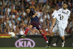 May 9, 2019 - Valencia, Spain - Aubameyang  of Asenal celebrates after scoring his sides first goal during the UEFA EuroLeague Semi Final Second Leg match between Valencia and Arsenal at Estadio Mestalla on May 9, 2019 in Valencia, Spain. (Credit Image: © Jose Breton/NurPhoto via ZUMA Press)