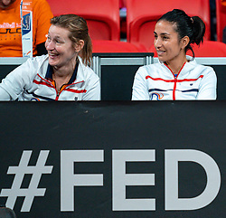 Elise Tamaela is watching the match between<br /> Kiki Bertens and Aljaksandra Sasnovich in the Fed Cup qualifier against Belarus in Sportcampus Zuiderpark, The Hague, Netherlands