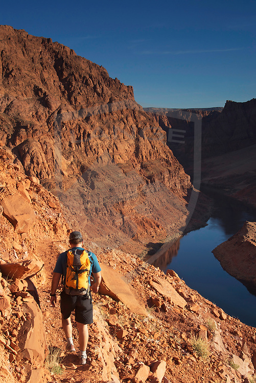 hiking above the colorado river at lee's ferry, arizona.