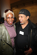l to r: Renee Cox and Anthony Barbosa at The Opening for Deb Willis' new book ' Posen Beauty ' held at NYU Tisch School of the Arts on October 8, 2009 in New york City..