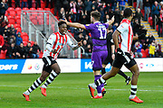 Chiedozie Ogbene (24) of Exeter City and Tristan Abrahams (19) of Exeter City celebrates what they thought was a goal but it was ruled out after the referee consulted the assistant during the EFL Sky Bet League 2 match between Exeter City and Grimsby Town FC at St James' Park, Exeter, England on 29 December 2018.