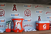 ANAHEIM, CA - APRIL  23:  Logos appear on the dugout wall while coolers and cups await the game between the Boston Red Sox and the Los Angeles Angels of Anaheim on Saturday, April 23, 2011 at Angel Stadium in Anaheim, California. The Red Sox won the game in a 5-0 shutout. (Photo by Paul Spinelli/MLB Photos via Getty Images)