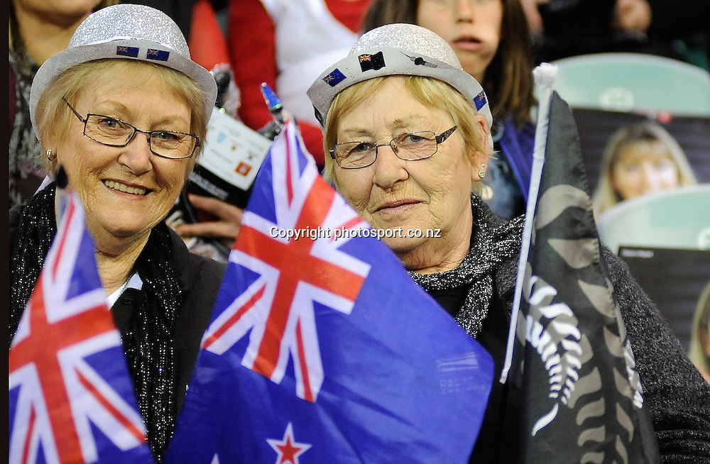 Silver Fern Fans, during New World Netball Series, New Zealand Silver Ferns v England at The ILT Velodrome, Invercargill, New Zealand. Thursday 6 October 2011 . Photo: Richard Hood photosport.co.nz
