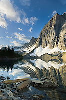The Rockwall mirrored in Floe Lake, Kootenay National Park British Columbia Canada