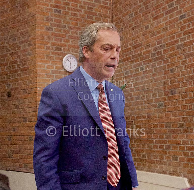 Nigel Farage <br /> UKIP Leader <br /> Resignation speech <br /> at Emmanuel Centre, Westminster, London, Great Britain <br /> 4th July 2016 <br /> <br /> The clock is ticking.....<br /> Nigel Farage <br /> <br /> <br /> Photograph by Elliott Franks <br /> Image licensed to Elliott Franks Photography Services