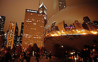 "People visiting the ""bean""at night. Millennium Park"