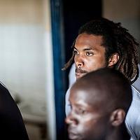 11/06/2013. Stade Iba Mar Diop, Dakar, Senegal. Le joueur Victor-Biram Samb de l'équipe de rugby du Senegal se concentre  avant de disputer le premier match de la demi-finale de la Coupe d'Afrique des Nations B contre la Namibie. ©Sylvain Cherkaoui