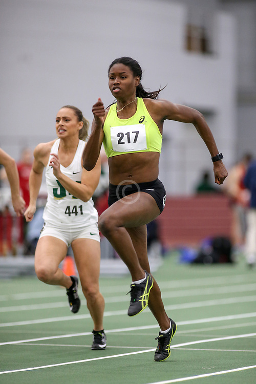 womens 60 meter prelim 1, Candace Hill, asics, Clutch<br /> Boston University Scarlet and White<br /> Indoor Track & Field, Bruce LeHane asics,