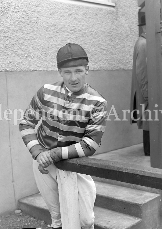 R1606<br /> Jockey W. J. Brennan at the races, location unknown, June 5 1958. <br /> (Part of the Independent Newspapers Ireland/NLI collection.)