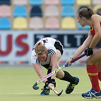 MONCHENGLADBACH - Junior World Cup<br /> Pool D: Germany - Spain<br /> photo: Sarah Sprink (white) and Marta Bosque (red).<br /> COPYRIGHT  FFU PRESS AGENCY/ FRANK UIJLENBROEK