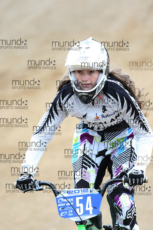 (Canberra, Australia---03 March 2012) Grace Campbell of New Zealand competing in stage 5 of the BMX Australia Champbikx 16 Girls series at the Melba BMX Track in Canberra, Australia. Photograph 2012 Copyright Sean Burges / Mundo Sport Images. For reproduction rights and information in Australia, contact seanburges@yahoo.com. For information elsewhere contact info@mundosportimages.com.