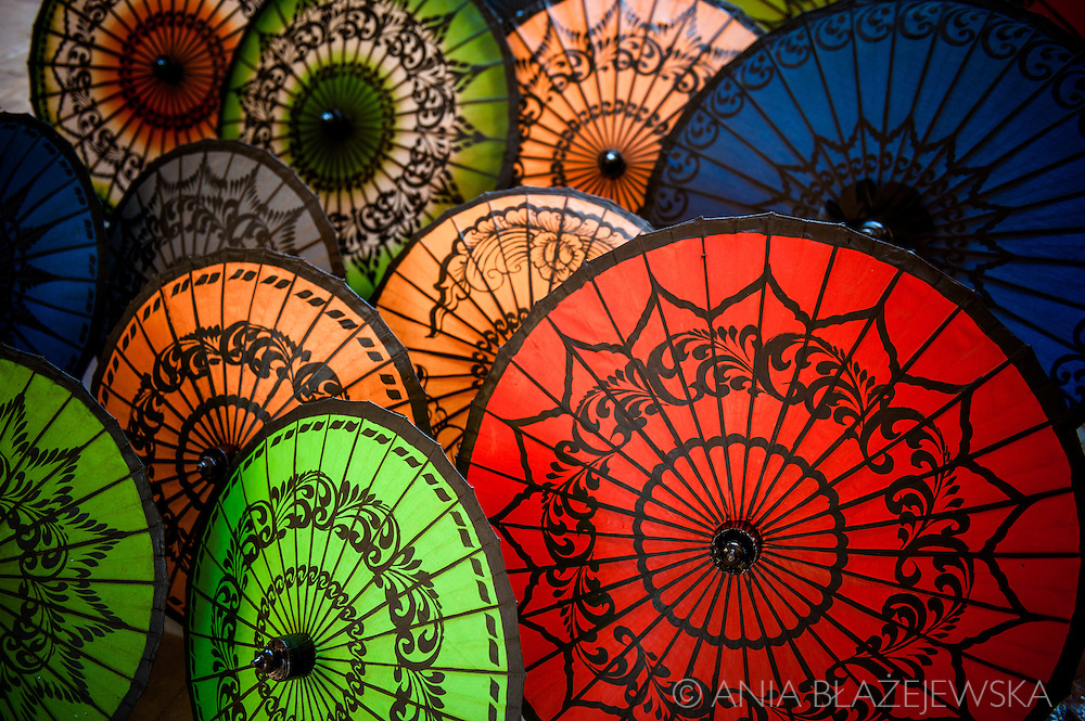 Myanmar, Bagan. Colourful Burmese umbrellas in a shop in Bagan.