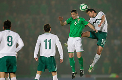 Chris Bairdx of Northern Ireland vs Armin Bacinovic of Slovenia during EURO 2012 Quaifications game between National teams of Slovenia and Northern Ireland, on March 29, 2011, in Windsor Park Stadium, Belfast, Northern Ireland, United Kingdom. (Photo by Vid Ponikvar / Sportida)