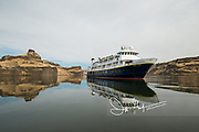 The National Geographic Sea Lion expedition ship reflected in the Palouse River.