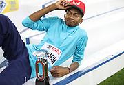 Mutaz Essa Barshim (QAT) poses with the IAAF Diamond League high jump trophy during the Weltklasse Zurich at Letzigrund Stadium in Zurich, Switzerland on Thursday, August 24, 2017.   (Jiro Mochizuki/Image of Sport)