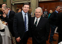 REPRO FREE***PRESS RELEASE NO REPRODUCTION FEE***<br /> Irish Sailing Awards, Royal College of Surgeons, Stephen's Green, Dublin 4/2/2016<br /> National Yacht Club sailor Liam Shanahan was named the 2015 Irish Sailor of the Year today at the Irish Sailing Awards in Dublin - Shanahan had a remarkable year, including victory in the Dun Laoghaire to Dingle race in June on his boat Ruth with two miles to spare.<br /> Kilkenny's Doug Elmes and Malahide's Colin O'Sullivan jointly took home the Irish Sailing Association (ISA) Youth Sailor of the Year award. The Howth Yacht Club sailors were hotly tipped following their recent Bronze medal success at the 2015 Youth World Championships in Malaysia, where they took Ireland's first doublehanded youth worlds medal in 19 years.<br /> The Mitsubishi Motors Sailing Club of the Year award was presented to the Royal Irish Yacht Club in honour of their success at local, national and international level.<br /> Mullingar Sailing Club took home the ISA Training Centre of the Year award, having been nominated as winners of the western-region Training Centre of the Year.<br /> Pictured is Gerard Rice (Mitsubishi Motors) and David Lovegrove (ISA President)<br /> Mandatory Credit ©INPHO/Cathal Noonan