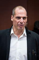 Greek Finance Minister Yanis Varoufakis during an emergency Eurogroup finance ministers meeting at the European Council in Brussels, Belgium on 20.02.2015 Eurogroup head Jeroen Dijsselbloem was working overtime on February 20 to save a make-or-break meeting on Greece's demand to ease its bailout programme as Germany insisted it stick with its austerity commitments after days of sharp exchanges, the 19 eurozone finance ministers gathered for the third time in little over a week to consider Athens' take-it or leave-it proposal to extend an EU loan programme which expires this month. by Wiktor Dabkowski. EXPA Pictures © 2015, PhotoCredit: EXPA/ Photoshot/ Wiktor Dabkowski<br /> <br /> *****ATTENTION - for AUT, SLO, CRO, SRB, BIH, MAZ only*****
