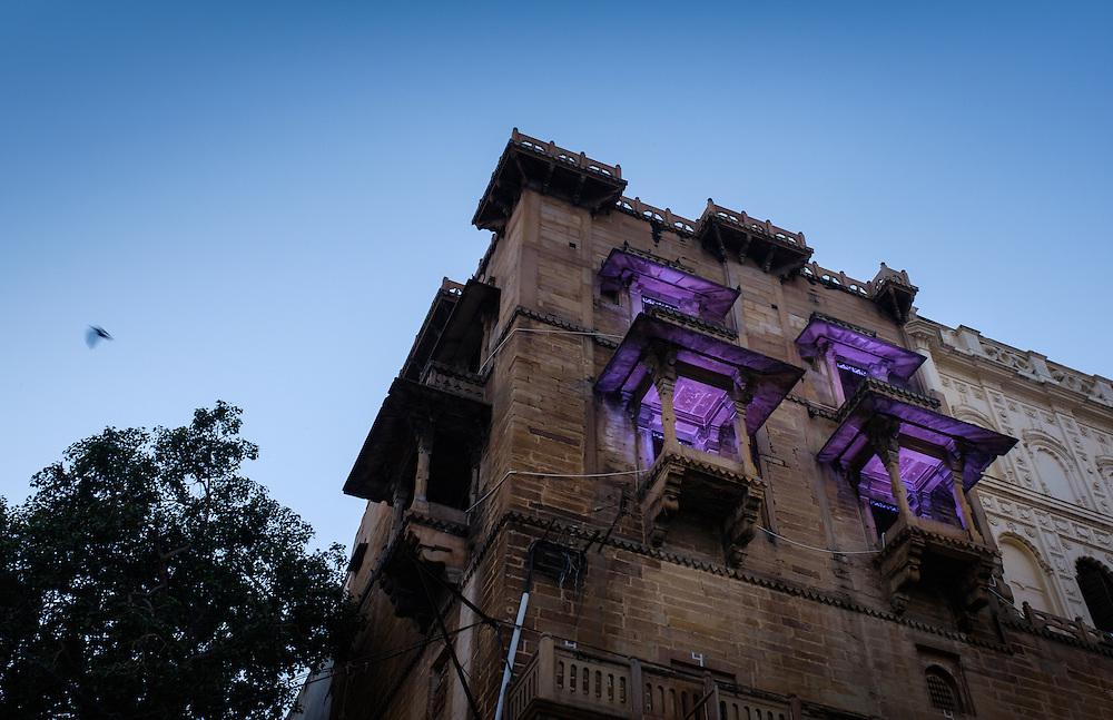 VARANASI, INDIA - CIRCA NOVEMBER 2016: Building over the Ganges river in Varanasi