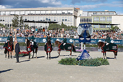 Team Ireland : Cameron Hanley, Denis Lynch, Shane Breen, Billy Twomey, Bertram Allen and chef d'equipe Robert Splaine<br /> Furusiyya FEI Nations Cup Jumping Final <br /> CSIO Barcelona 2013<br /> © Dirk Caremans