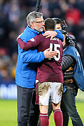 Heart of Midlothian manager Craig Levein embraces Heart of Midlothian goal scorer, Don Cowie (#15) of Heart of Midlothian, following the William Hill Scottish Cup 4th round match between Heart of Midlothian and Hibernian at Tynecastle Stadium, Gorgie, Scotland on 21 January 2018. Photo by Craig Doyle.