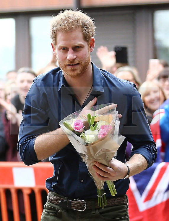 © Licensed to London News Pictures. 21/02/2017. Gateshead UK. HRH Prince Harry visits Walking with the wounded today at the Civic centre in Gateshead. His Royal Highness will learn how Walking With the Wounded is working with the local council and police on projects to support ex-servicemen, with a focus on providing specialist support for mental health, including those who come into contact with the criminal justice system. The Prince will hear from project leaders and beneficiaries of these services, before attending a round table on how multi-agency partnerships can support mental health provision for servicemen with complex needs. Photo credit: Andrew McCaren/LNP