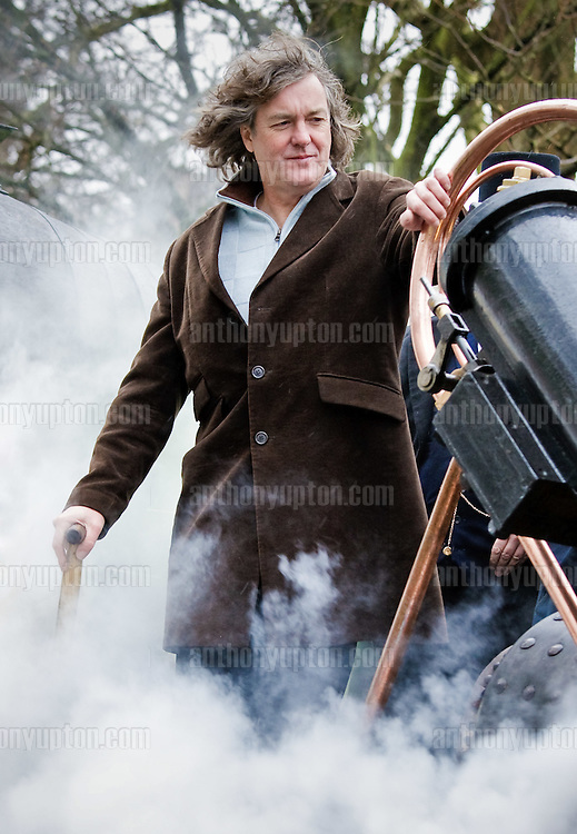 James May TV presenter launches the iconic Stephenson's 'Rocket' locomotive steam  train in Kensington Gardens, London.For photographic enquiries please call Anthony Upton 07973 830 517 or email info@anthonyupton.com <br />