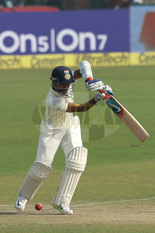 Ajinkya Rahane of India  during day two of the 4th Paytm Freedom Trophy Series Test Match between India and South Africa held at the Feroz Shah Kotla Stadium in Delhi, India on the 4th December 2015<br /> <br /> Photo by Ron Gaunt  / BCCI / SPORTZPICS