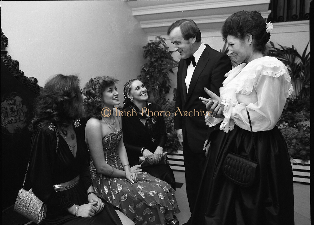"Reception For ""Sheba"" Ireland's Eurovision Entrants..1981..01.04.1981..04.01.1981..1st April 1981..The Minister for Posts and Telegraphs,Mr Albert Reynolds TD,held a reception in the State Apartments,Dublin Castle on the occasion of the Grand Prix of the Eurovision Song Contest 1981. The contest was being held in Ireland after Johnny Logans win at the Hague in 1980. Ireland's representatives this year are ""Sheba"" singing  ""Horoscopes""...The Minister,Albert Reynolds,and his wife Kathleen are pictured with ""Sheba"" at the Eurovision Reception in Dublin Castle.""Sheba"" is made up of Frances Campbell, Irene McCoubrey (Maxi) and Marion Fossett."