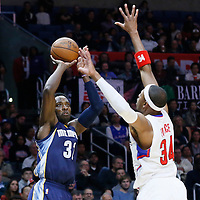 09 November 2015: Memphis Grizzlies forward Jeff Green (32) takes a jump shot over Los Angeles Clippers forward Paul Pierce (34) during the Los Angeles Clippers 94-92 victory over the Memphis Grizzlies, at the Staples Center, in Los Angeles, California, USA.