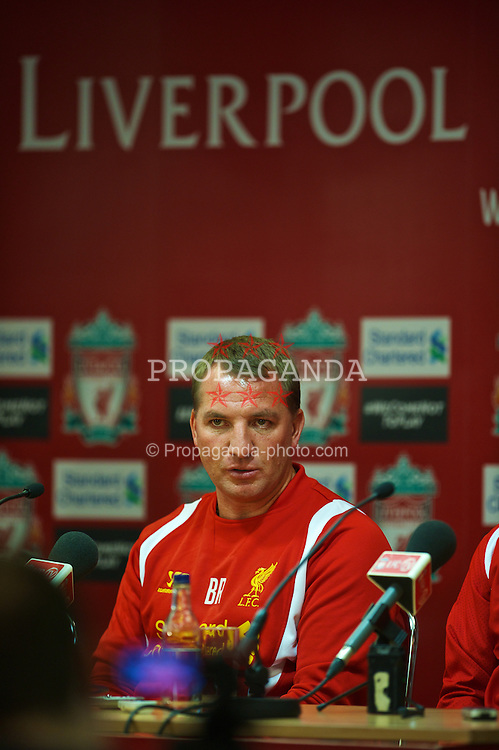 LIVERPOOL, ENGLAND - Monday, July 9, 2012: Liverpool's new manager Brendan Rodgers during a press conference to launch the side's North American pre-season tour of Toronto, Baltimore and Boston at Anfield. (Pic by David Rawcliffe/Propaganda)