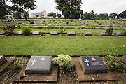 Thailand-Burma Railway Centre - the Museum for the River Kwai Bridge. View over the Donrak War cemetery, resting place of allied POWs who died during construction of the infamous bridge.