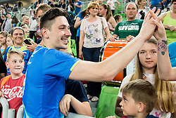 Dejan Vincic of Slovenia with his fans after the volleyball match between National teams of Slovenia and Portugal in 2nd Round of 2018 FIVB Volleyball Men's World Championship qualification, on May 26, 2017 in Arena Stozice, Ljubljana, Slovenia. Photo by Vid Ponikvar / Sportida